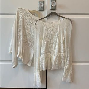 White lace long sleeve tops